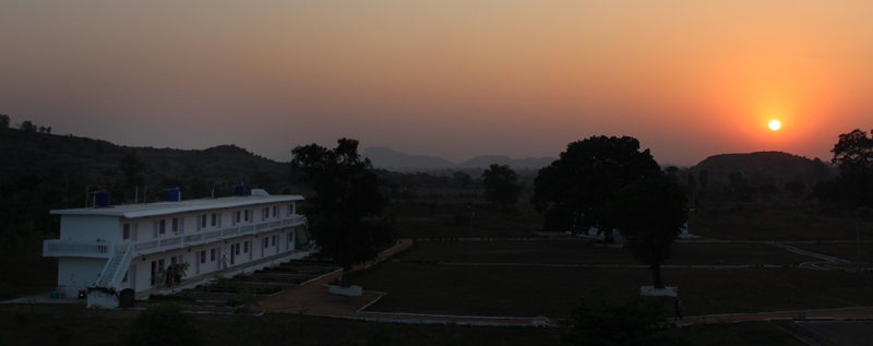 Beautiful sunset at Arhanta Yoga ashram India