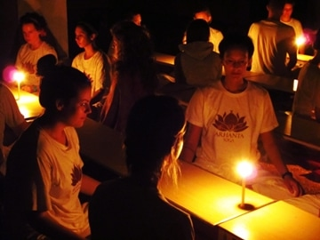 Meditation at yoga ashram in India