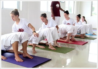 Hatha Yoga class in India